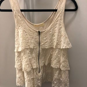 Zip Front Tiered Lace Tank